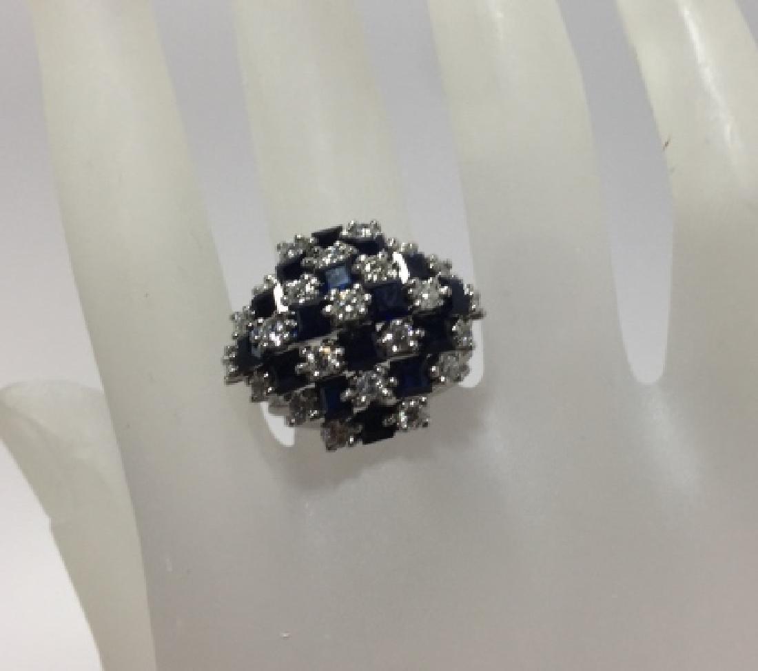 Estate 14kt White Gold Sapphire & Diamond Ring