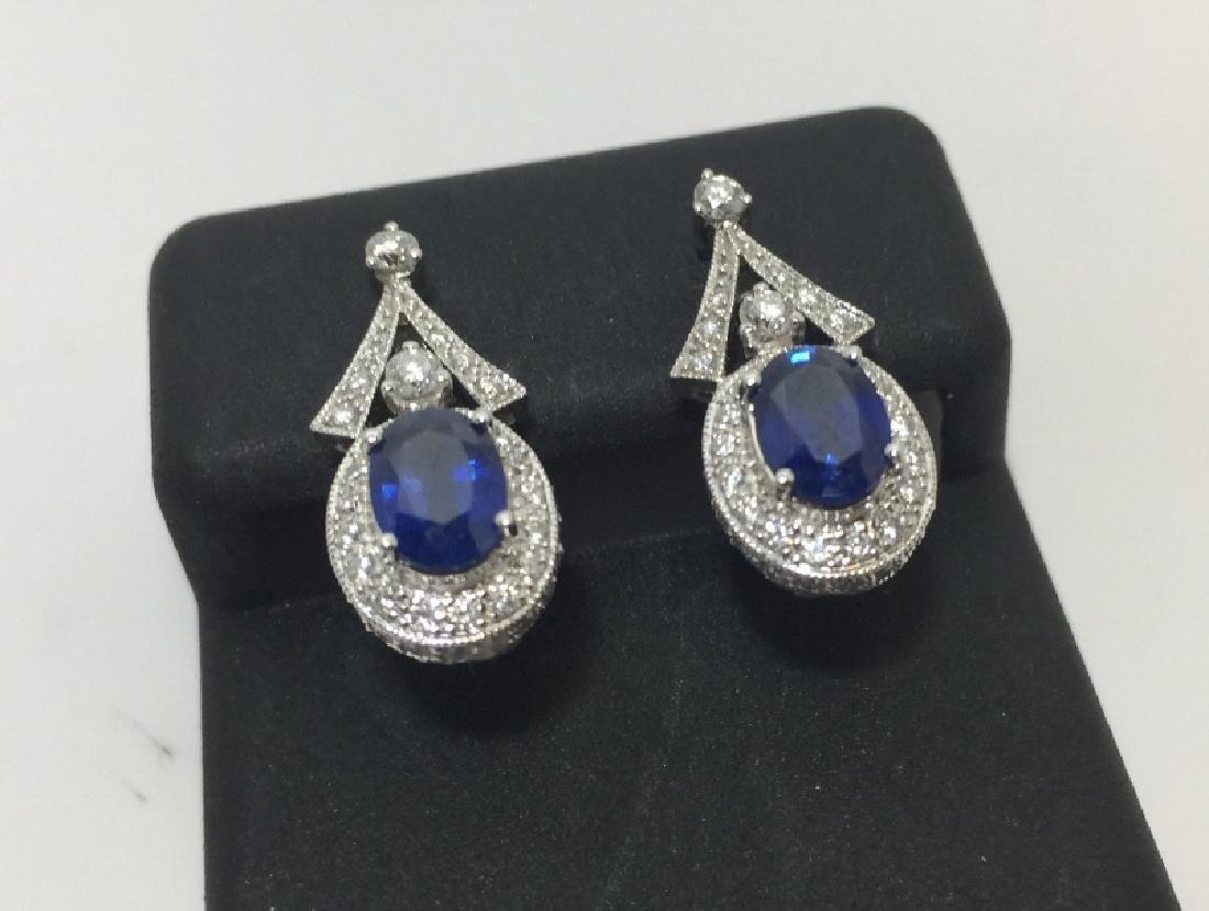 14kt White Gold Diamond & Sapphire Earrings