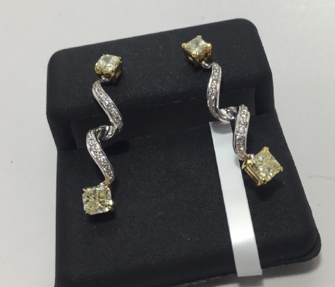 Pair 18kt White Gold Yellow Diamond Earrings