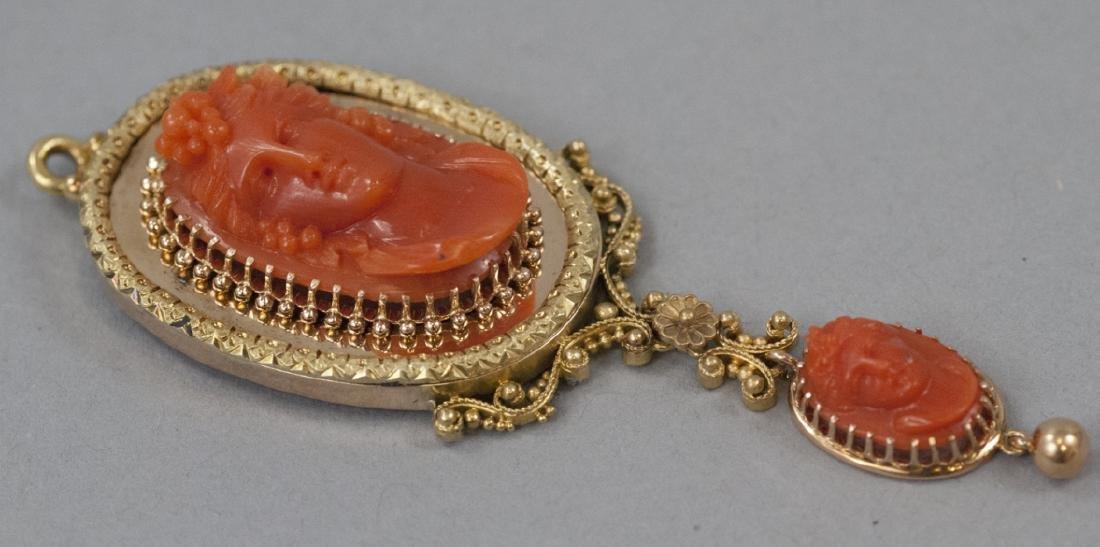 Antique 19th C Carved Coral & 14kt Gold Pendant