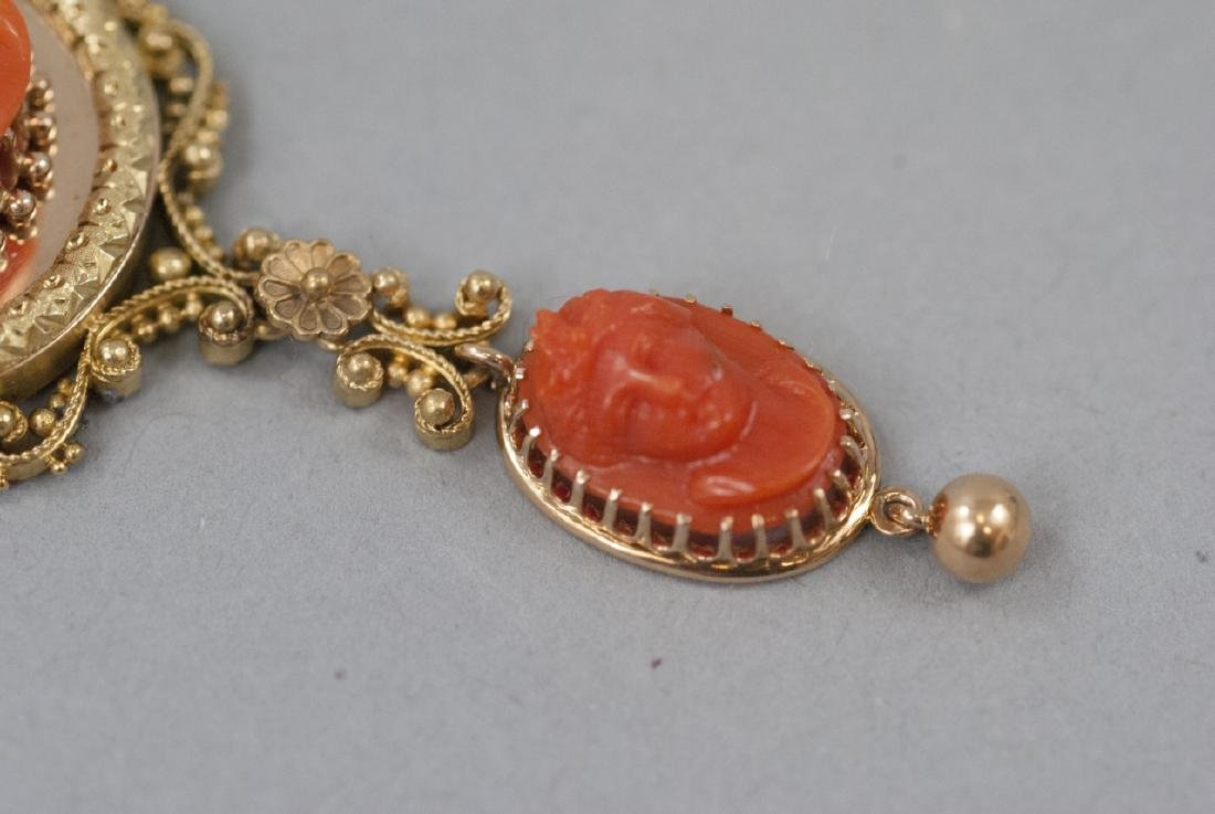Antique 19th C Carved Coral & 14kt Gold Pendant - 7