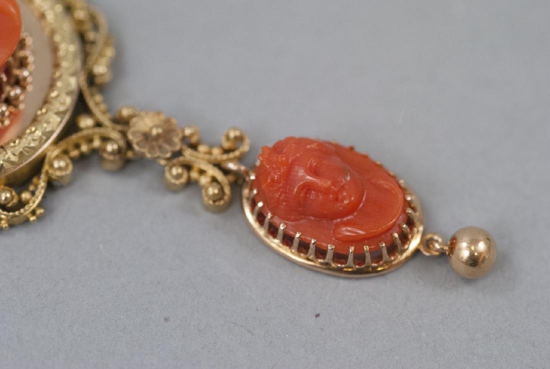 Antique 19th C Carved Coral & 14kt Gold Pendant - 8