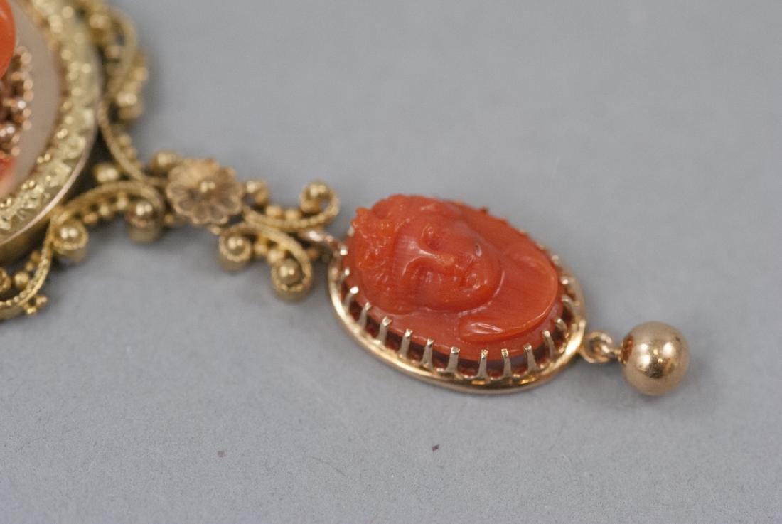 Antique 19th C Carved Coral & 14kt Gold Pendant - 9