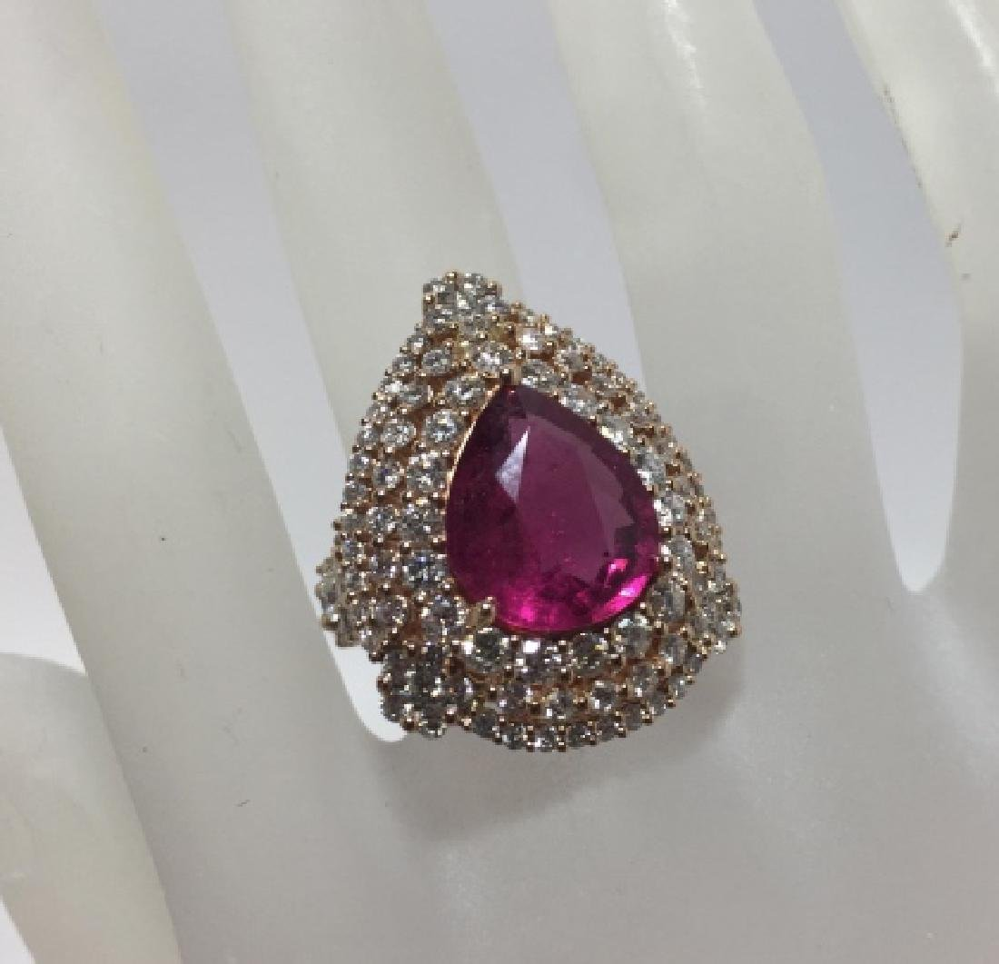 18kt Gold 3 Carat Diamond & 6.3 Carat Ruby Ring