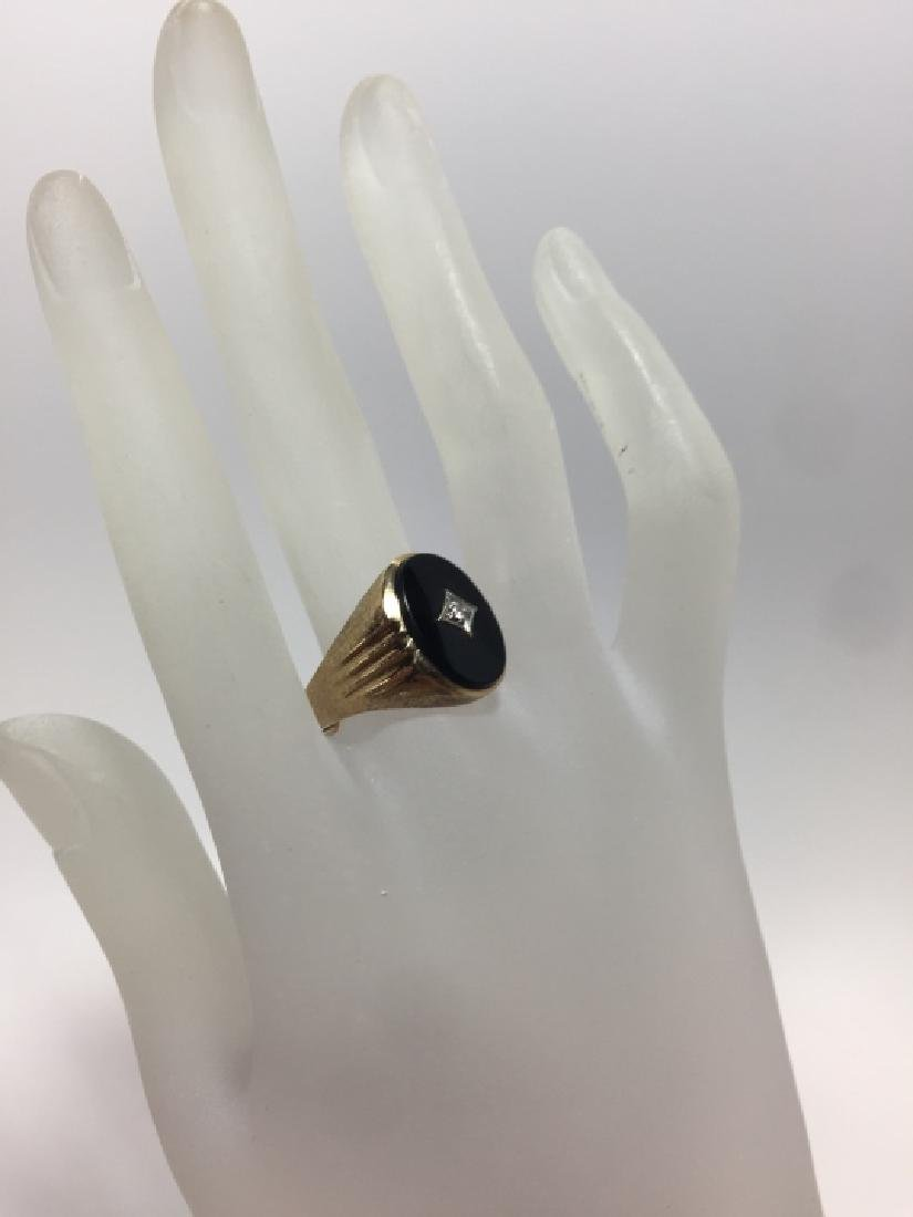 Estate 10kt Yellow Gold Onyx & Diamond Signet Ring - 3