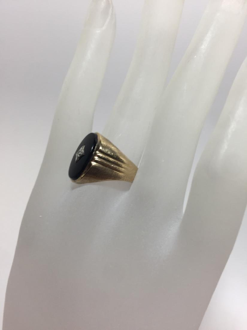 Estate 10kt Yellow Gold Onyx & Diamond Signet Ring - 4