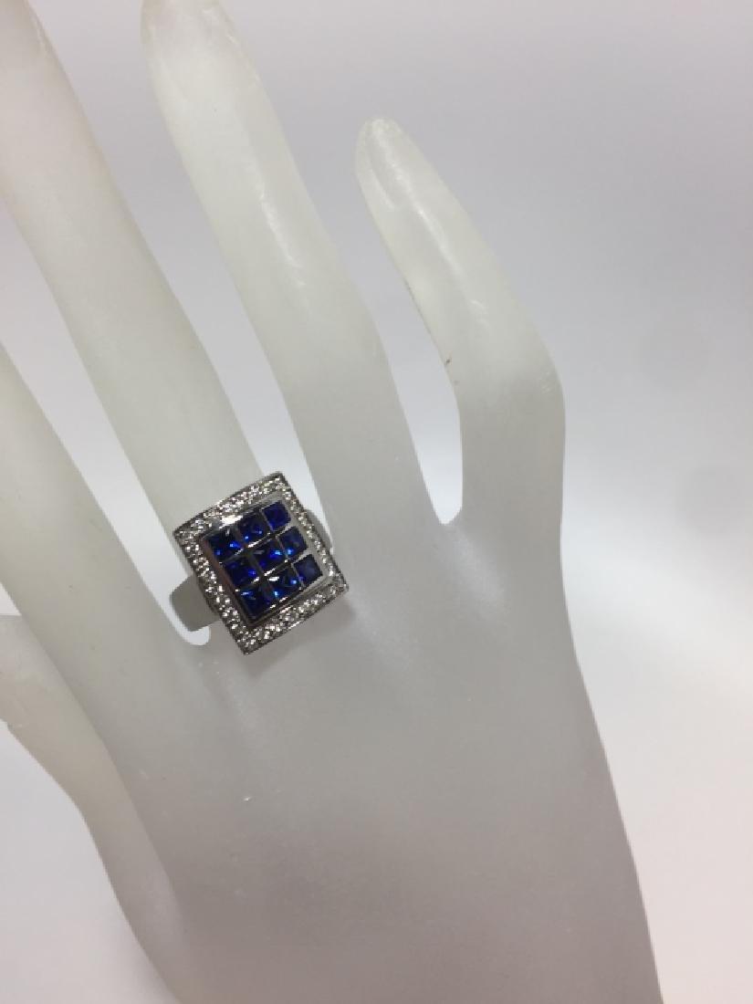 Designer 18kt White Gold Sapphire & Diamond Ring - 2