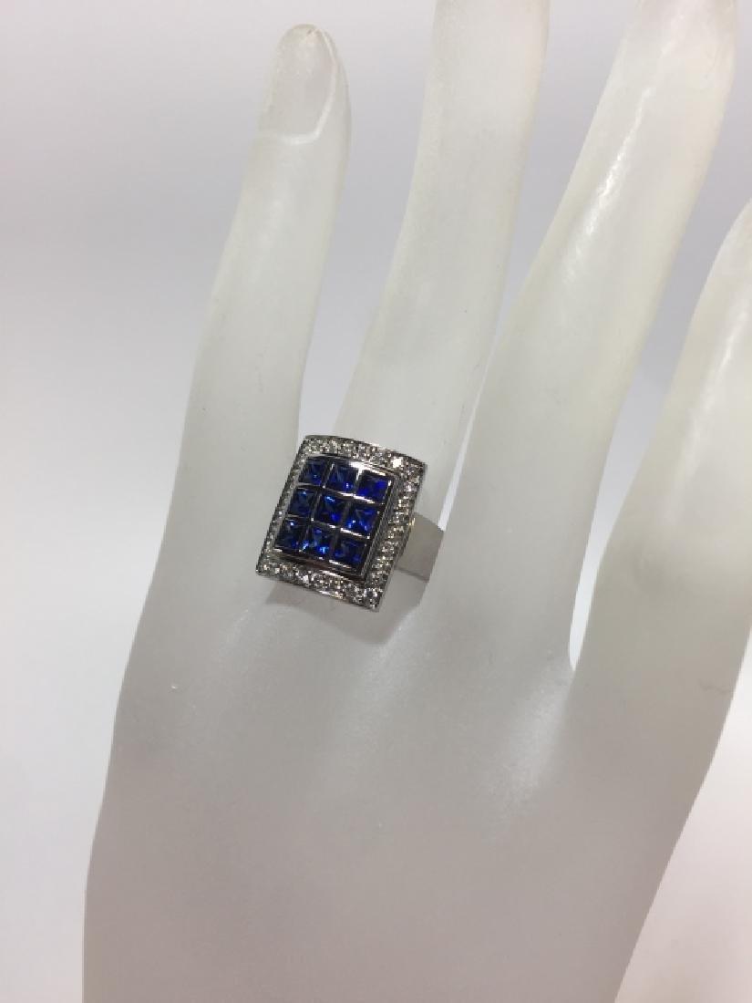 Designer 18kt White Gold Sapphire & Diamond Ring - 3