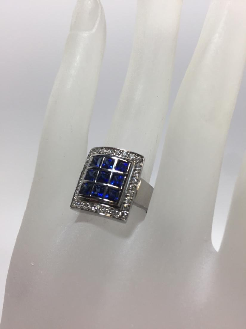 Designer 18kt White Gold Sapphire & Diamond Ring - 4
