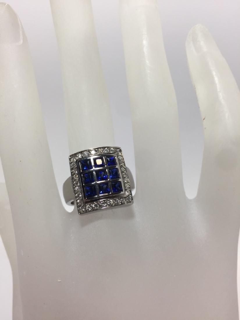 Designer 18kt White Gold Sapphire & Diamond Ring - 6