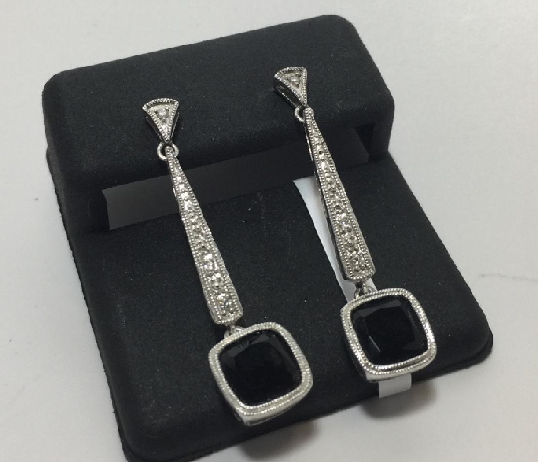14kt White Gold Diamond & Onyx Earrings