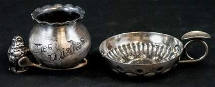 Antique Silverplate Toothpick Holder  Wine Taster