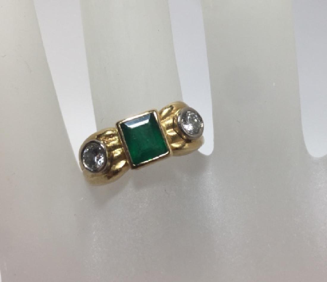 Estate 14kt Yellow Gold Emerald & Diamond Ring