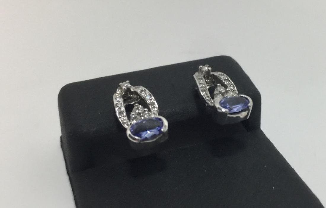 14kt White Gold Diamond & Tanzanite Earrings