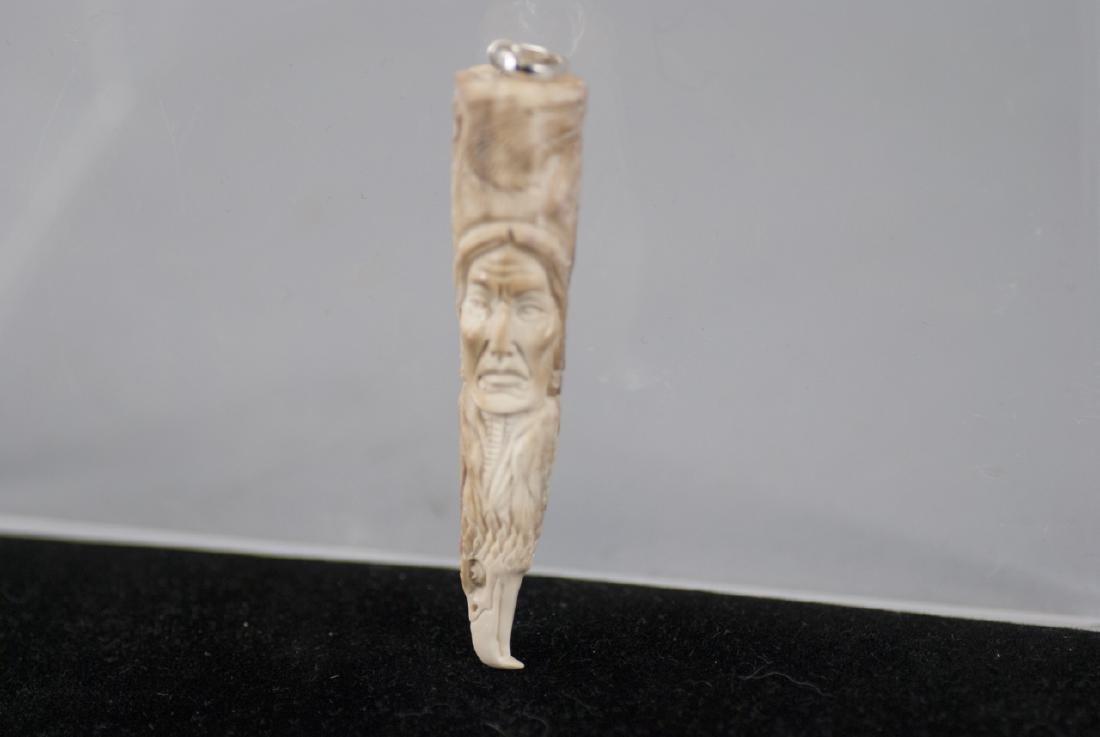 Native American Totem Pole Bone Necklace Pendant - 2