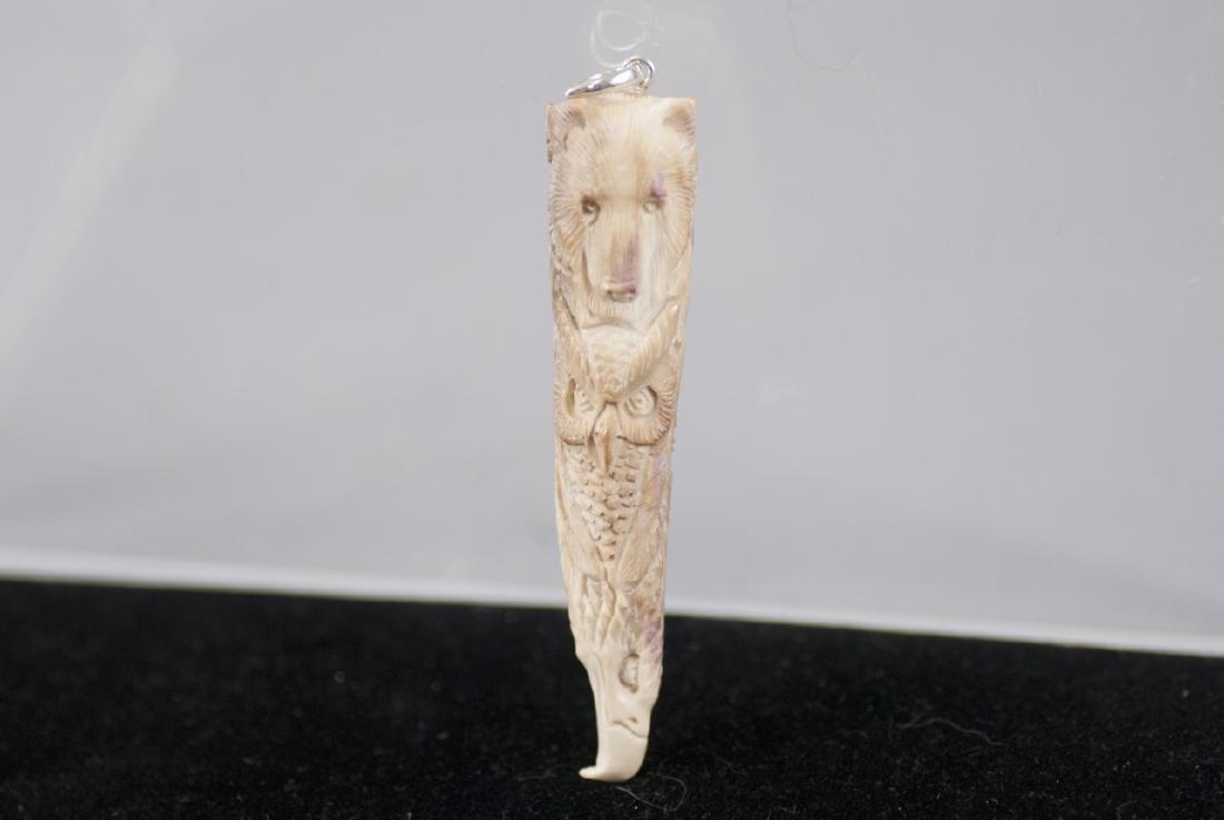 Native American Totem Pole Bone Necklace Pendant - 4
