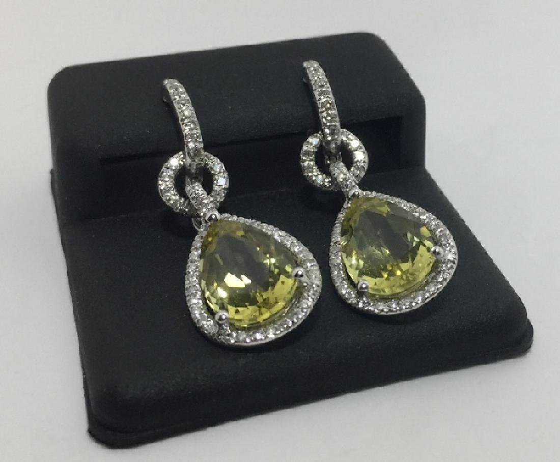 18kt White Gold Diamond & Lemon Quartz Earrings