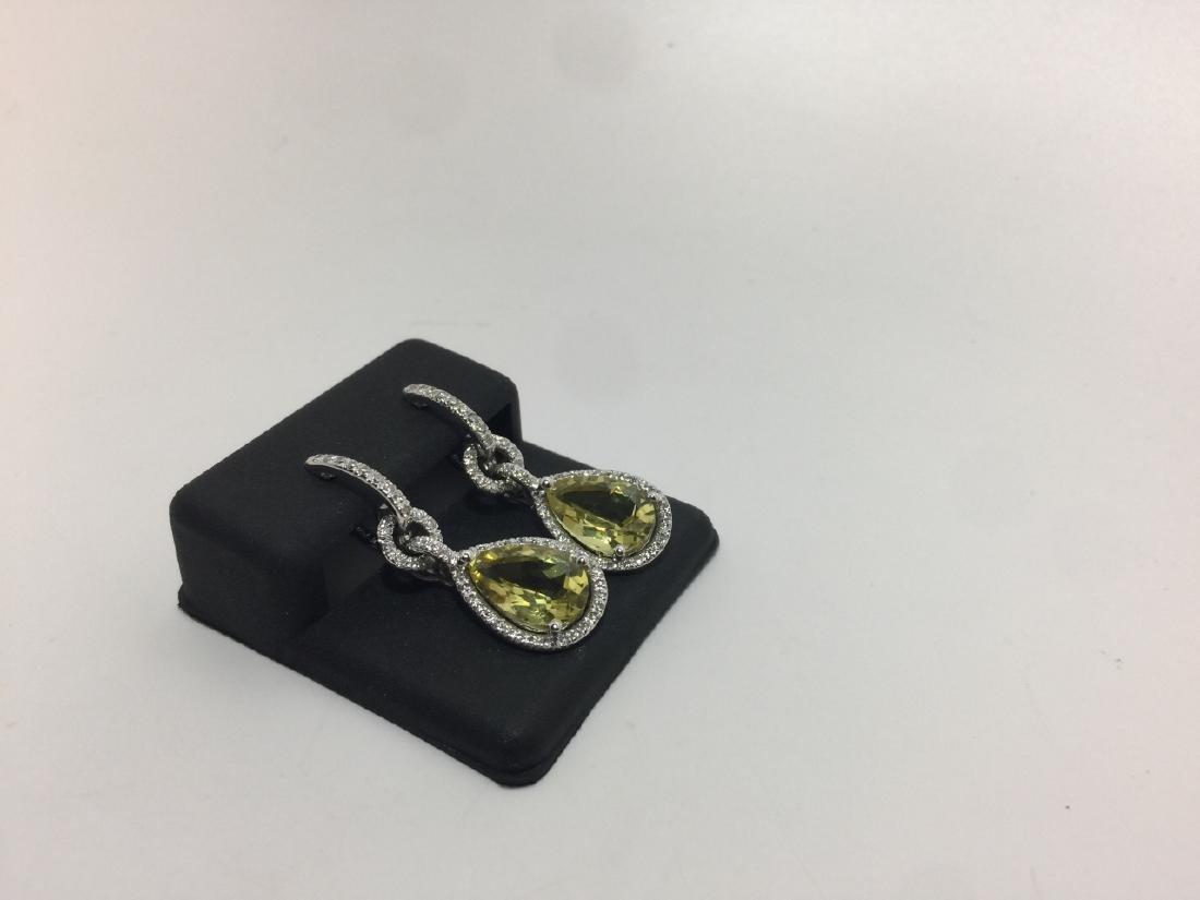 18kt White Gold Diamond & Lemon Quartz Earrings - 2