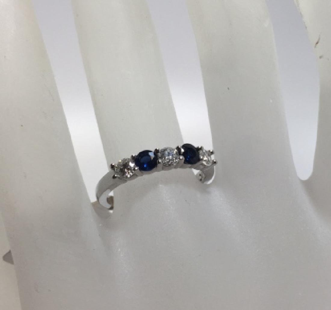 14kt White Gold Diamond & Sapphire Band Ring