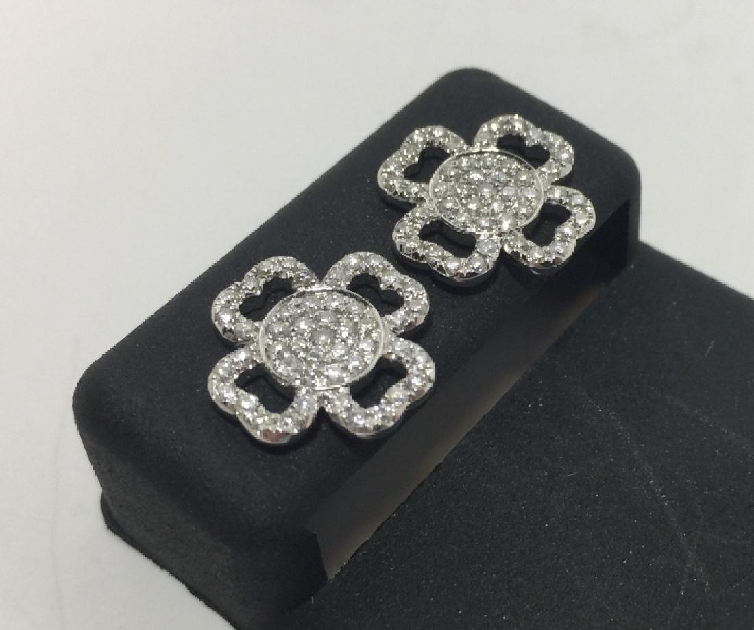 18kt White Gold & Pave Diamond Filigree Earrings