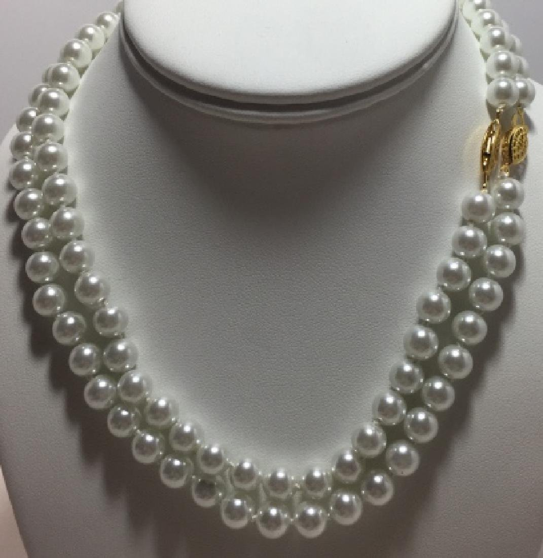 Pair Hand Knotted Pearl Necklaces w Stud Earrings