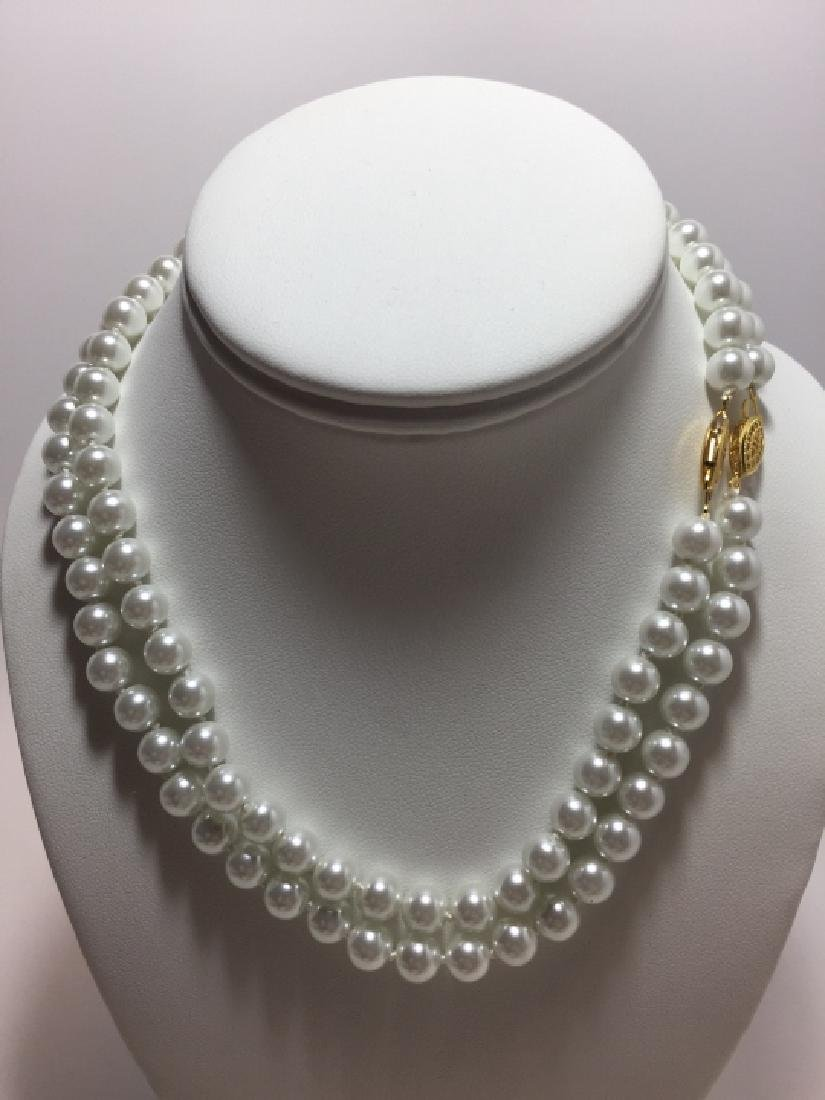 Pair Hand Knotted Pearl Necklaces w Stud Earrings - 5
