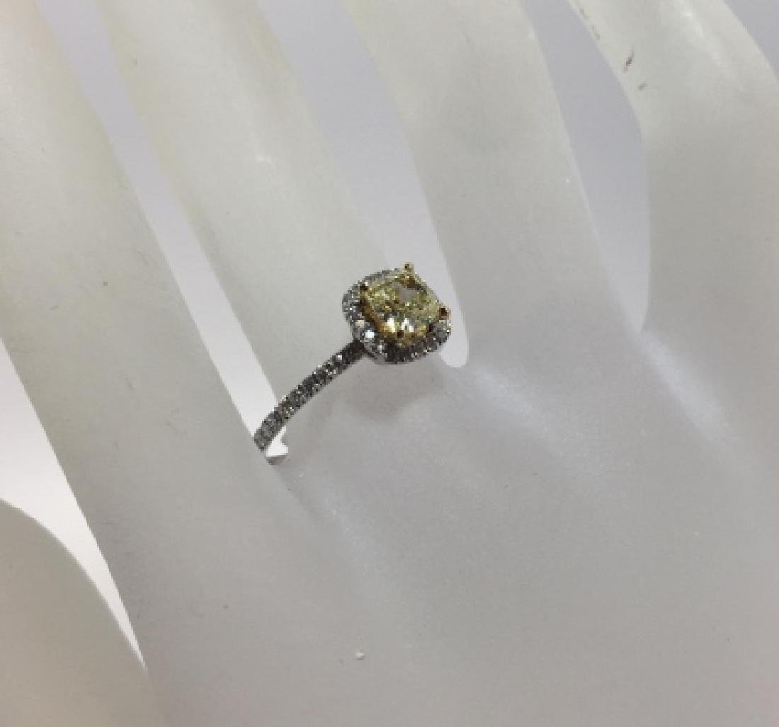 18kt Gold Engagement Ring w GIA Yellow Diamond