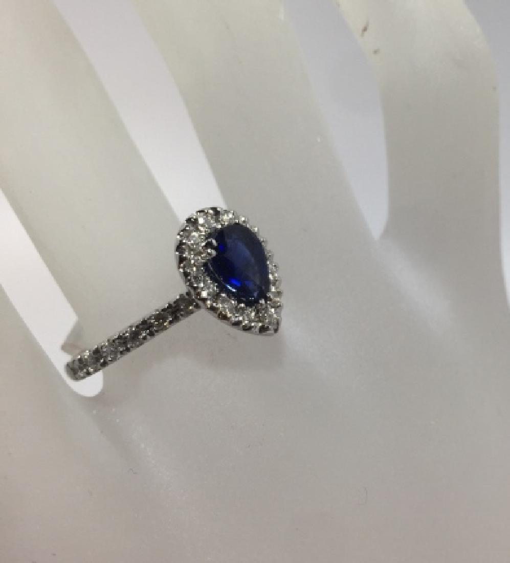 14kt White Gold Diamond & Sapphire Ring