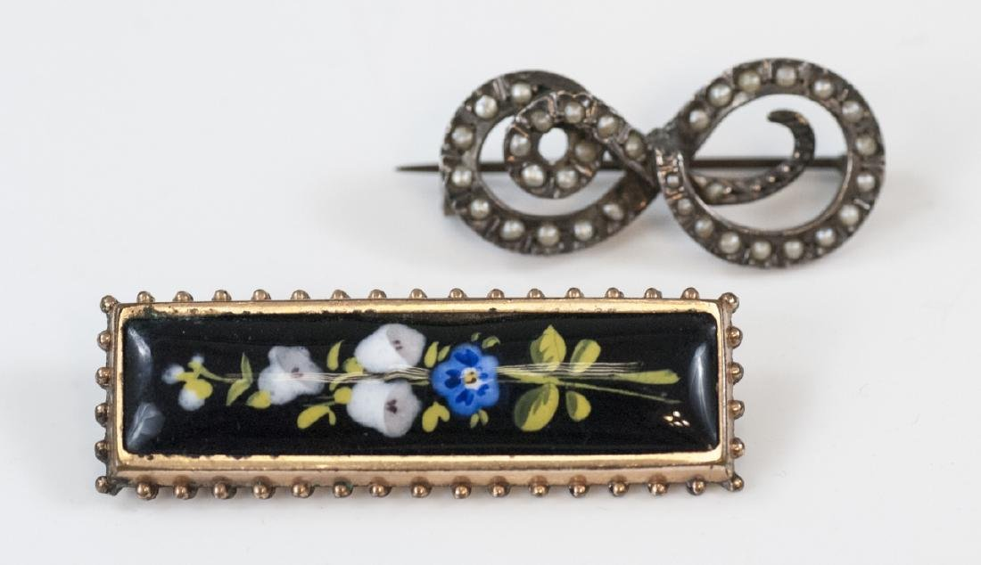 Antique 19th C Victorian Enamel Seed Pearl Brooch