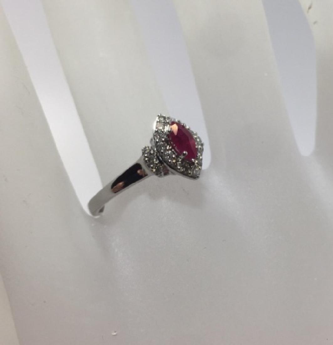 14kt White Gold Navette Form Ruby & Diamond Ring