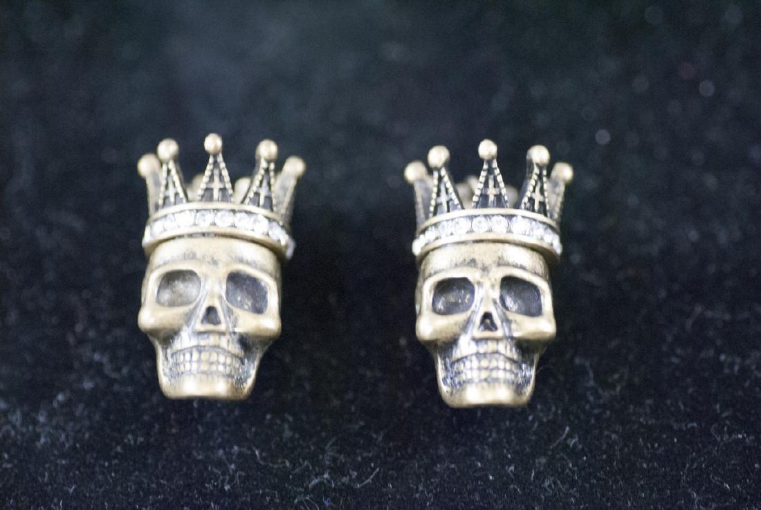 Pair of Jewelry Pendants - Human Skulls w Crowns
