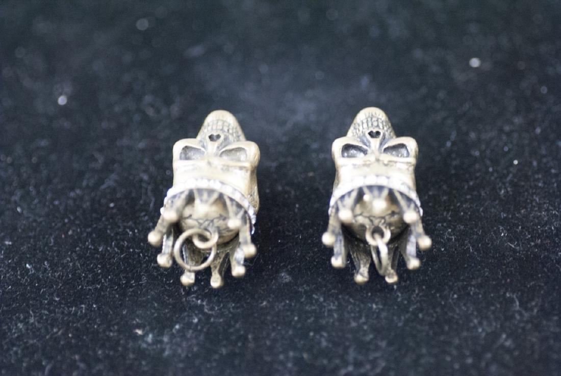Pair of Jewelry Pendants - Human Skulls w Crowns - 2