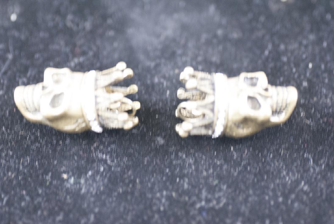 Pair of Jewelry Pendants - Human Skulls w Crowns - 3