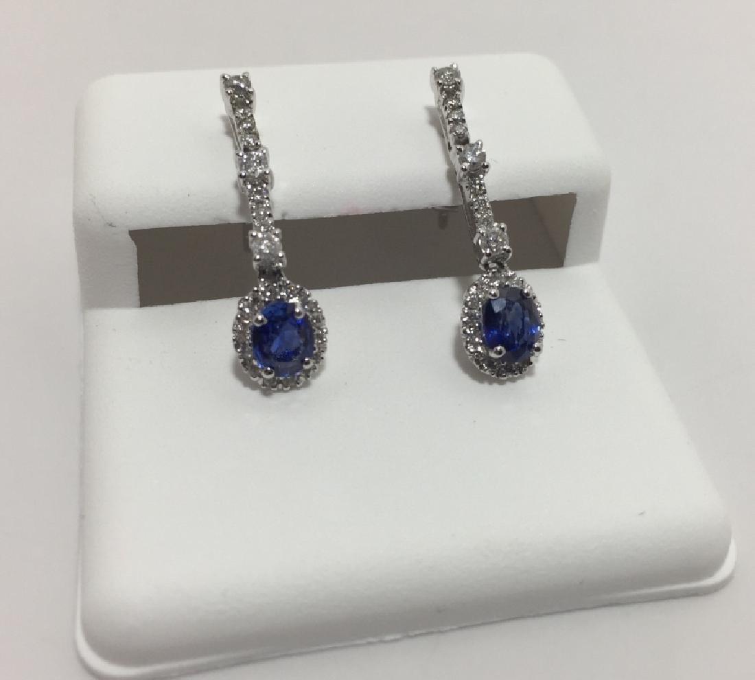 18kt White Gold Diamond & Sapphire Earrings