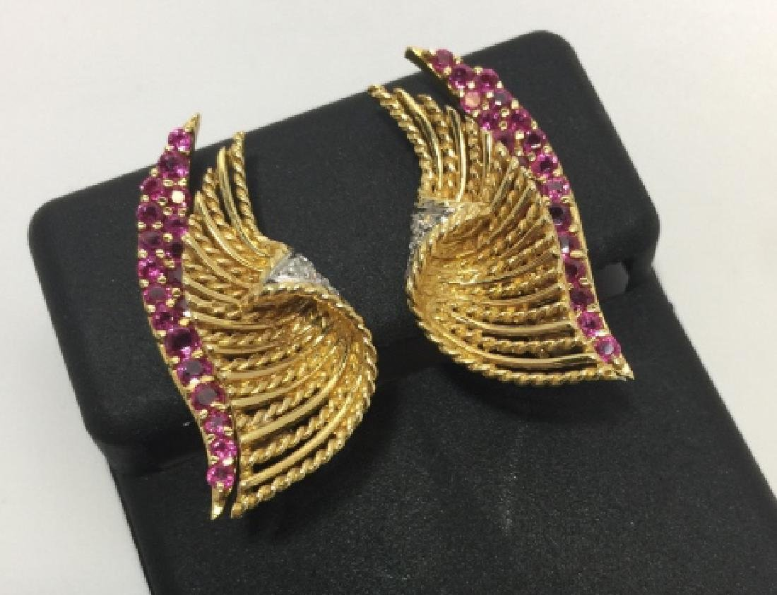 Estate 18kt Yellow Gold Diamond & Ruby Earrings