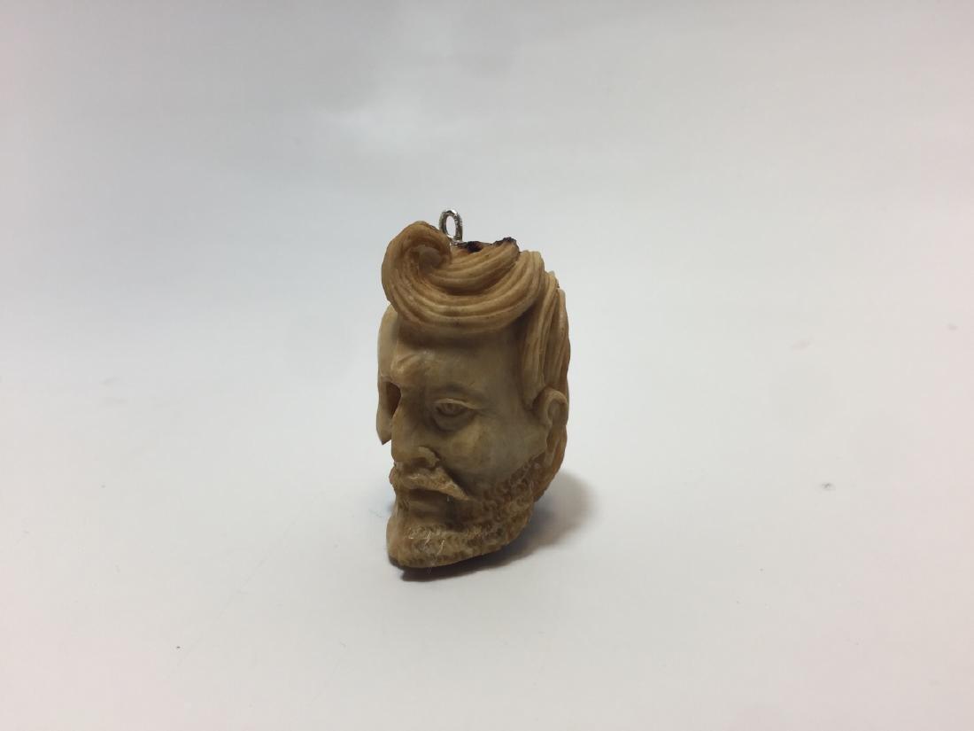 Hand Carved Bone Memento Mori Life & Death Pendant - 3