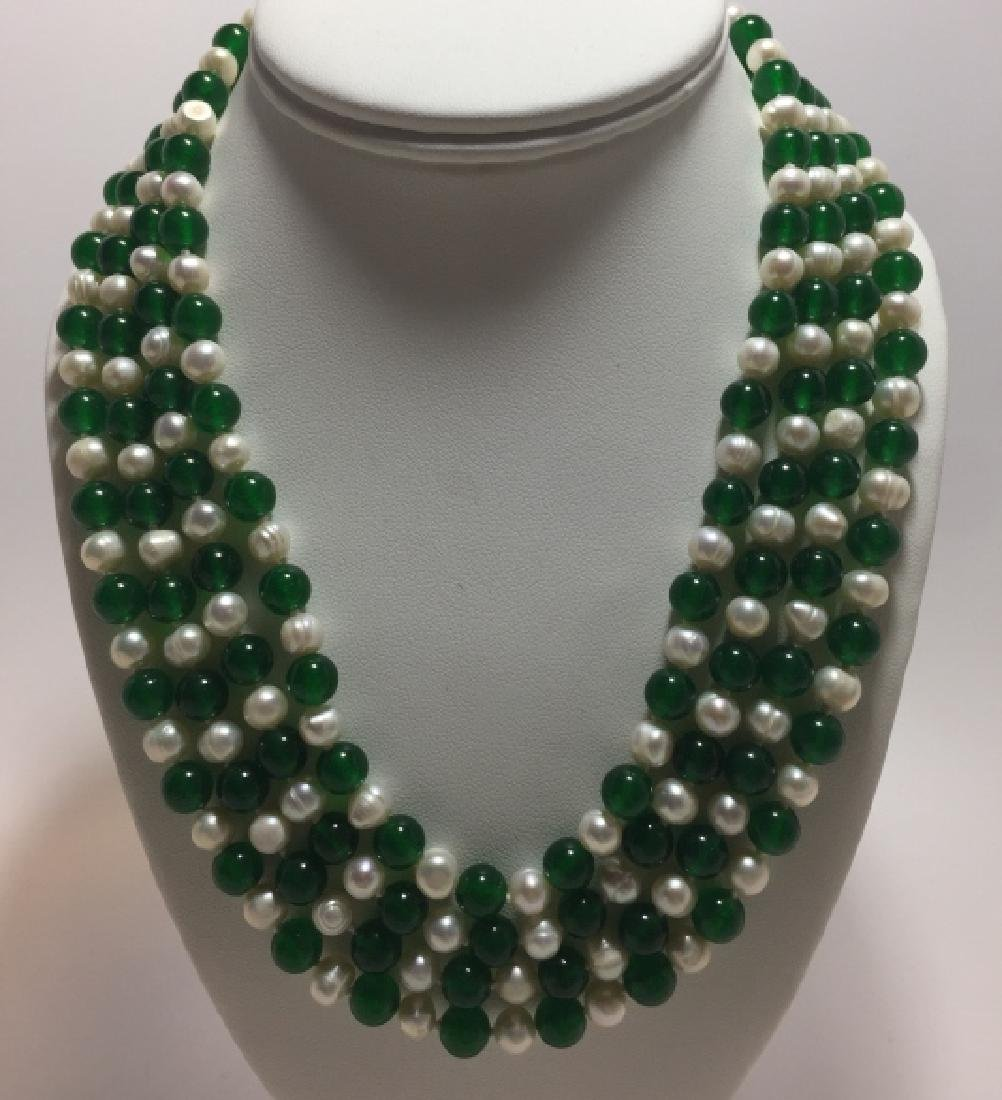 82 Inch Hand Knotted Jade & Baroque Necklace