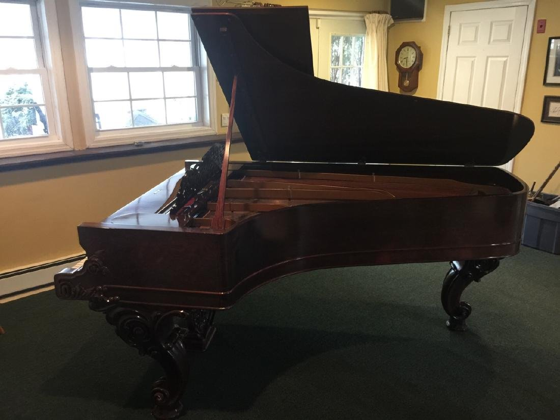Antique Carved Rosewood 1863 Steinway Grand Piano - 10