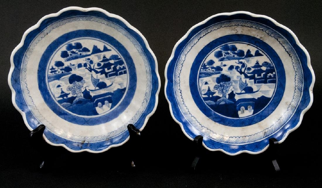 Pair Chinese Canton Blue & White Porcelain Plates
