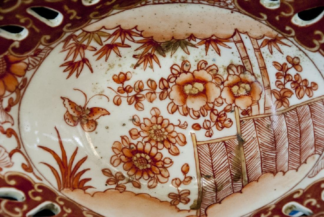 Large Chinese Hand Painted Porcelain Compote - 2