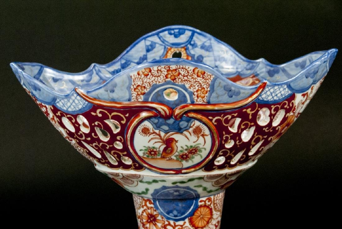Large Chinese Hand Painted Porcelain Compote - 3