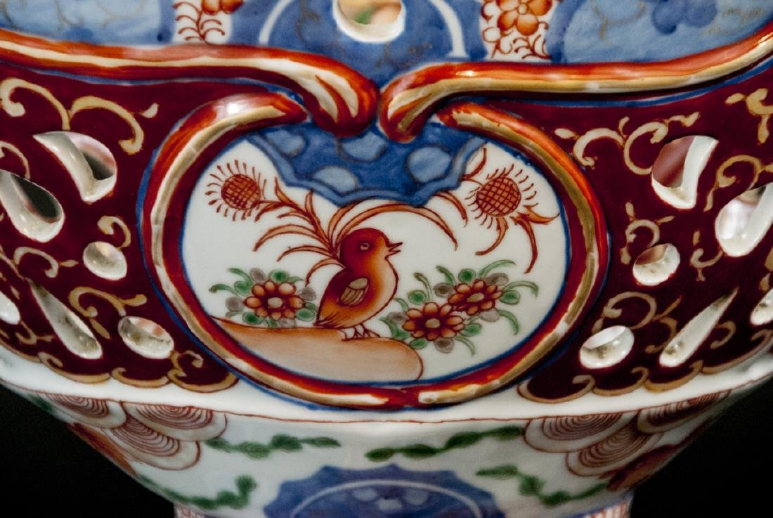 Large Chinese Hand Painted Porcelain Compote - 4