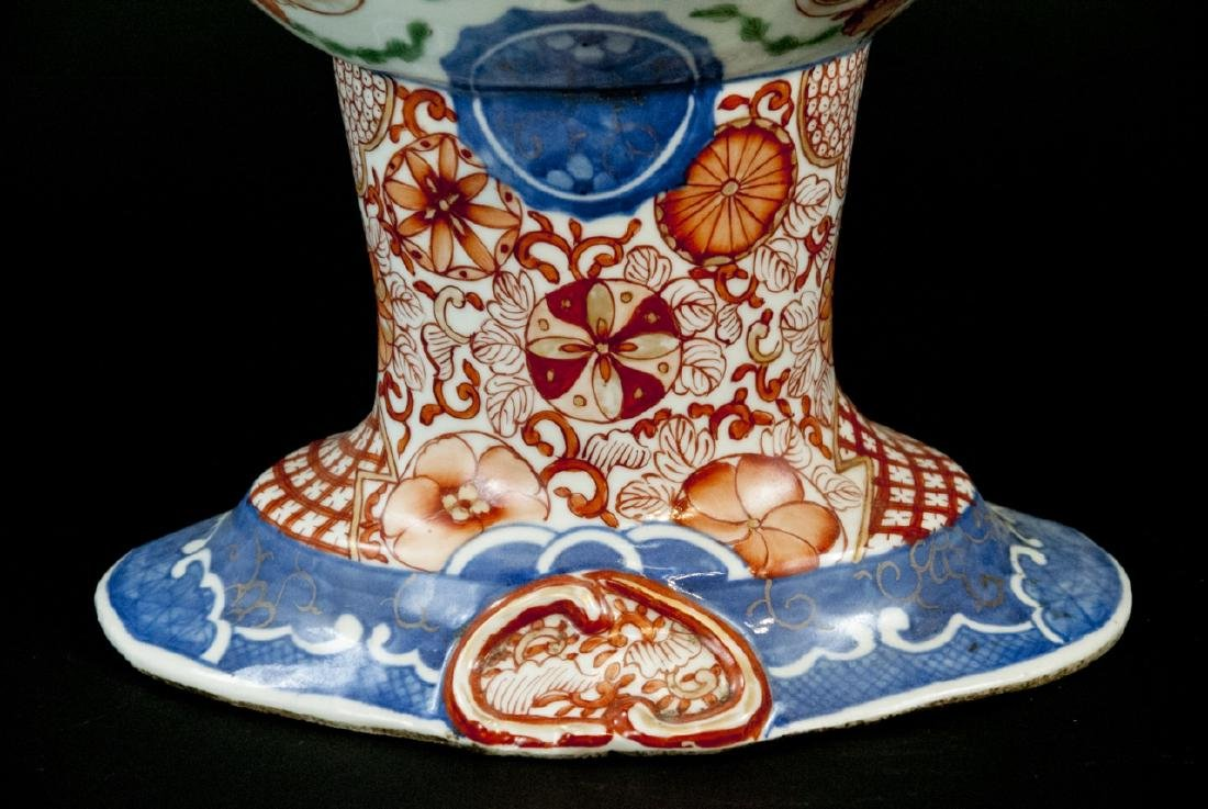 Large Chinese Hand Painted Porcelain Compote - 8