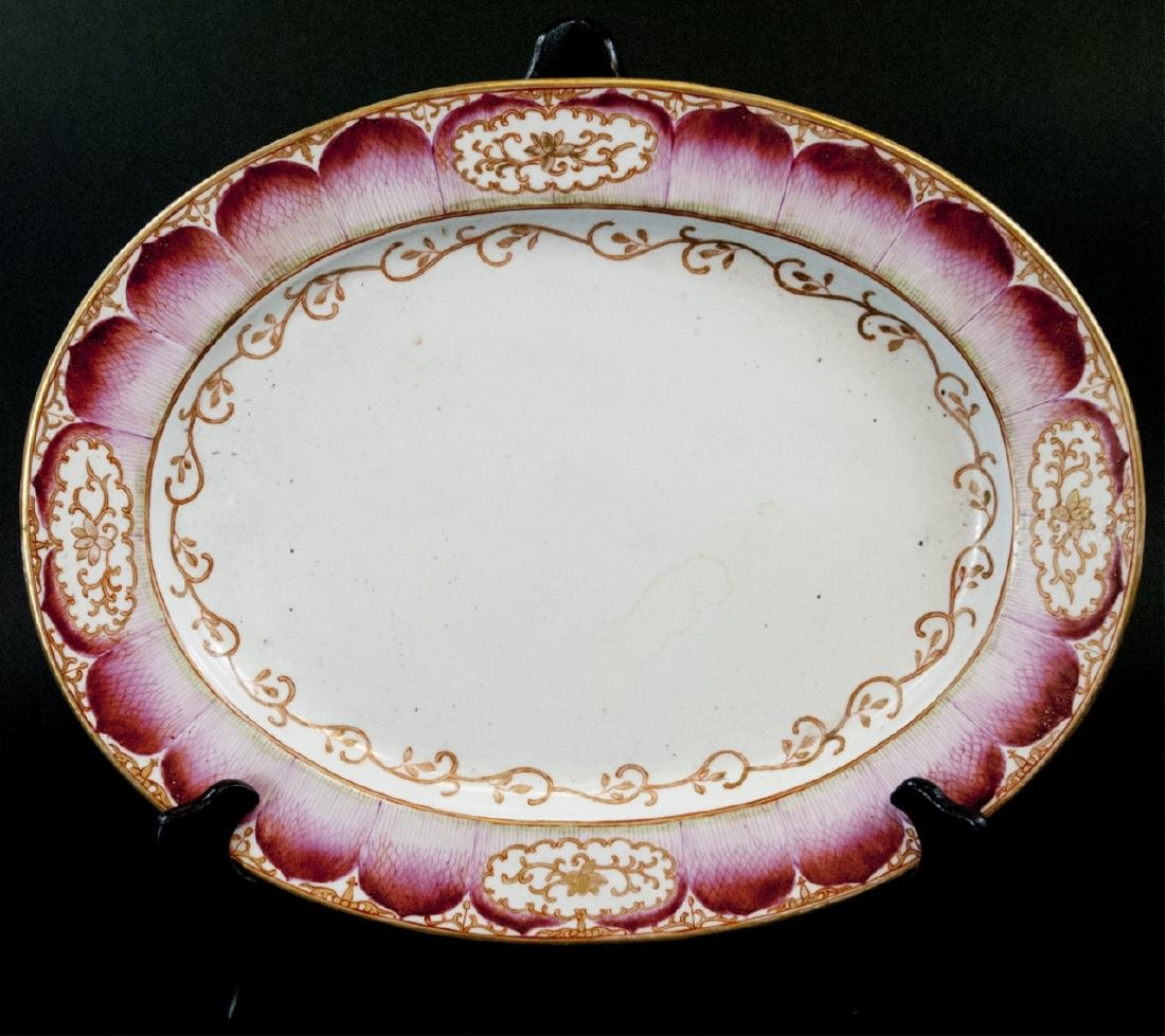 Large Chinese Hand Painted Lotus Flower Platter