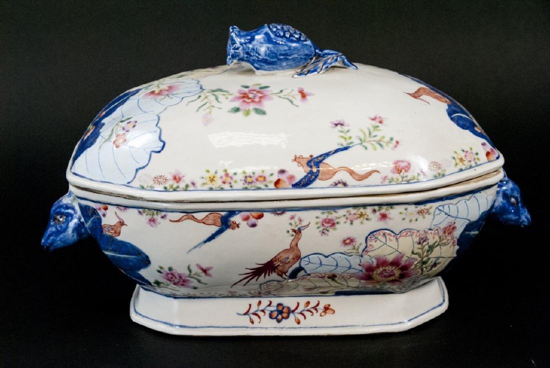Chinese Porcelain Tobacco Leaf Tureen & Platter - 10