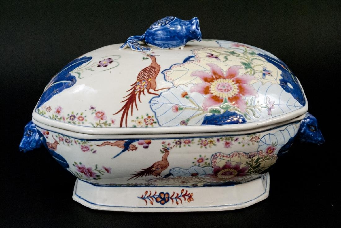 Chinese Porcelain Tobacco Leaf Tureen & Platter