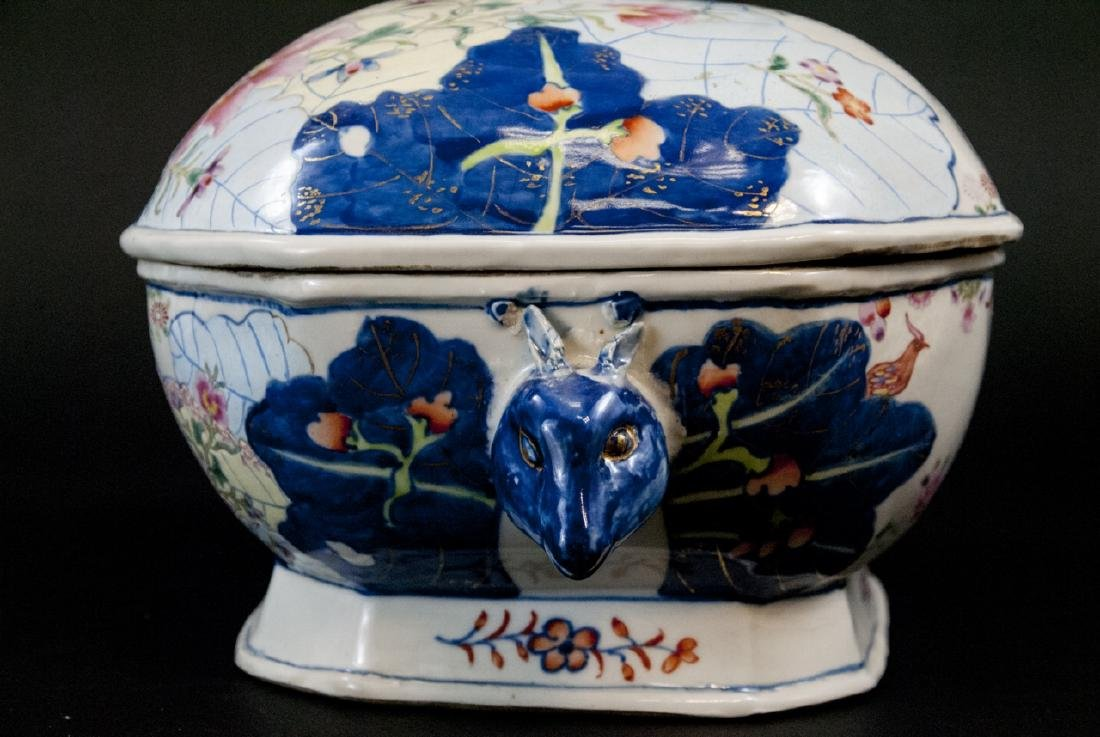 Chinese Porcelain Tobacco Leaf Tureen & Platter - 3