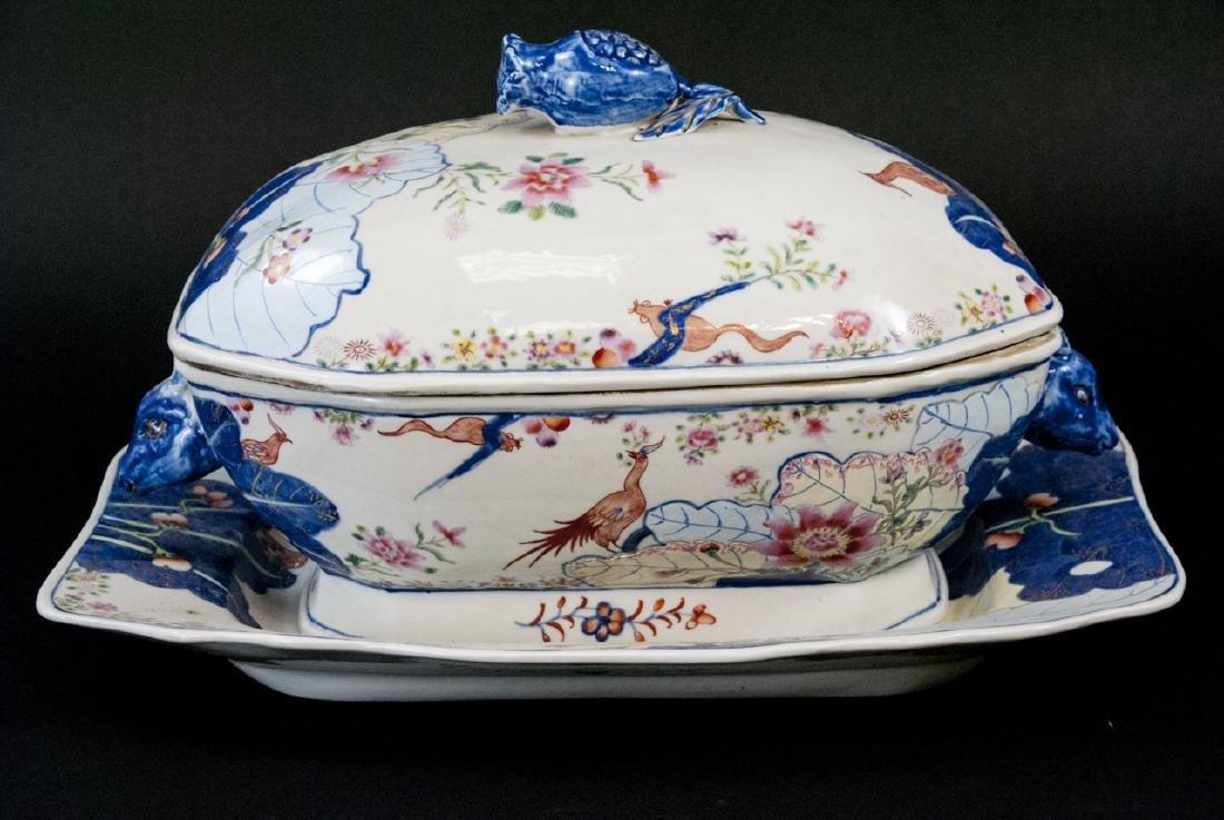 Chinese Porcelain Tobacco Leaf Tureen & Platter - 5