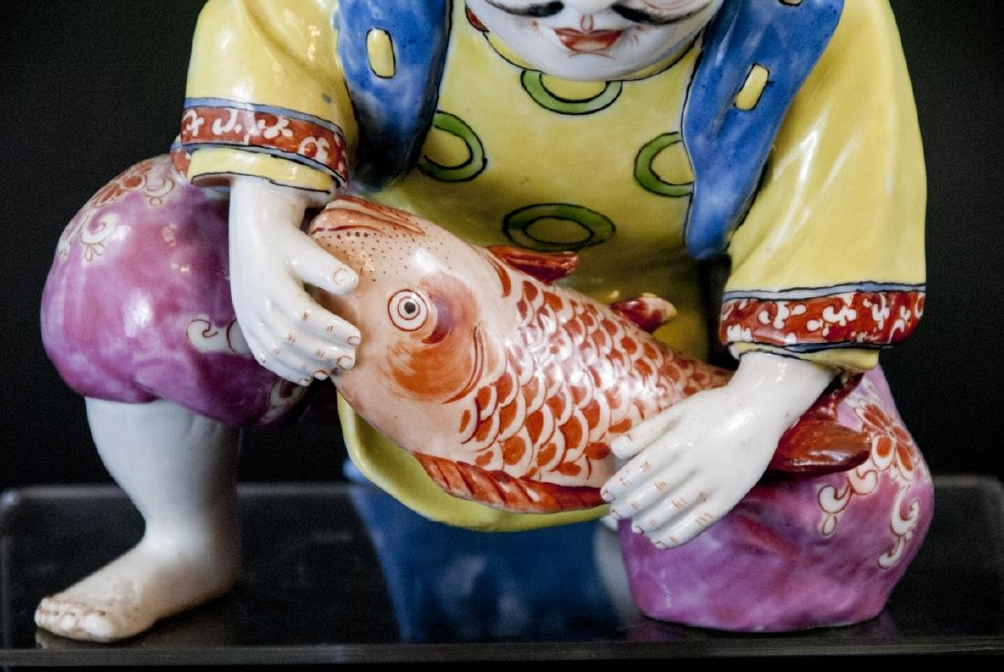 Chinese Porcelain Hand Painted Statue of Fisherman - 2