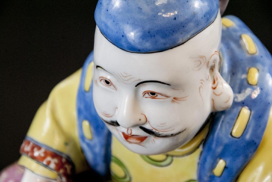 Chinese Porcelain Hand Painted Statue of Fisherman - 5